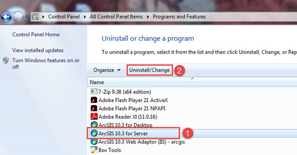 Image shows how to repair ArcGIS for Server from the Control Panel.