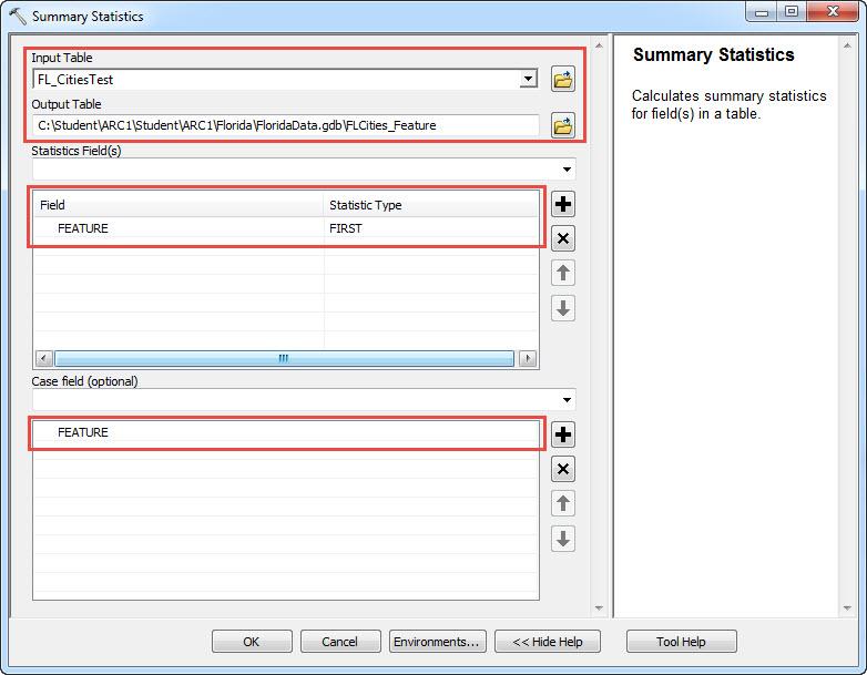 The Summary Statistics tool