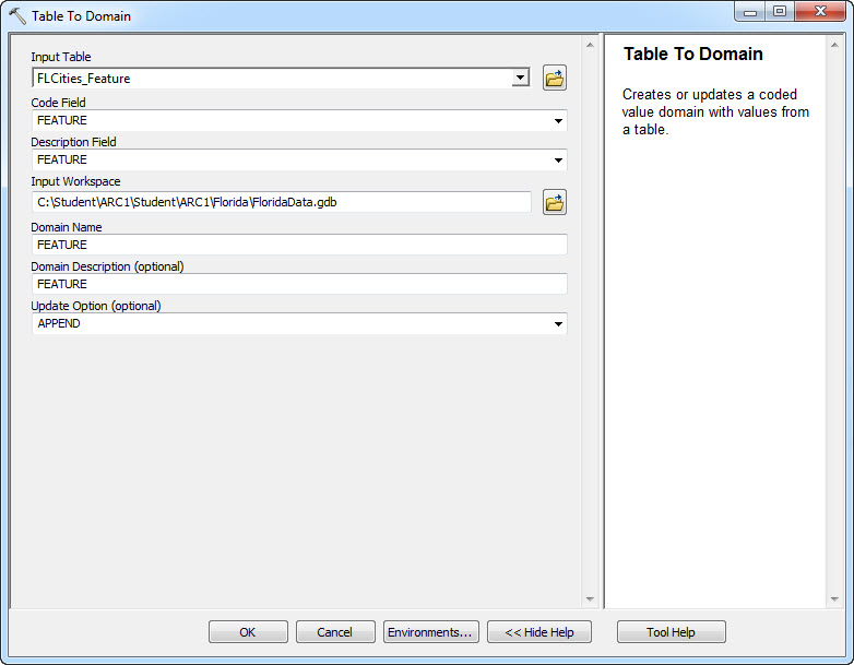The Table to Domain tool