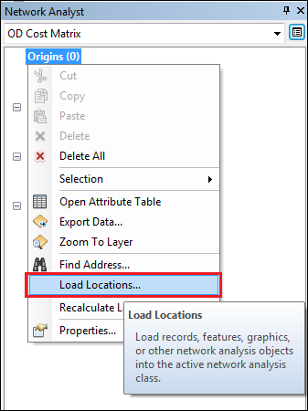 An image of the Load Locations option.