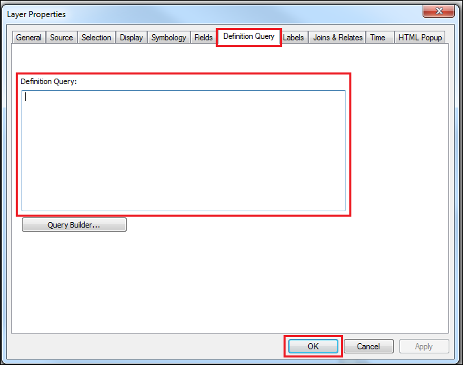 Remove query in the Layer Properties dialog box