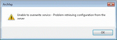 "Image of the ""Unable to overwrite service - Problem retrieving configuration from the server"" error message box"