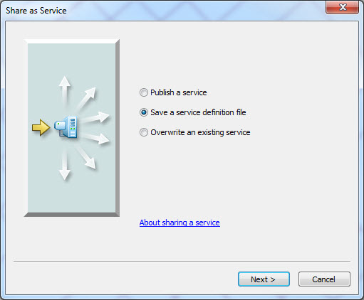 An image of the 'Share as Service' dialog box.