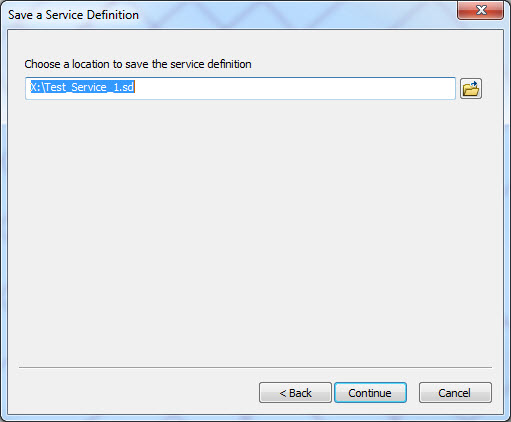 An image of selecting a location to save the service definition file.