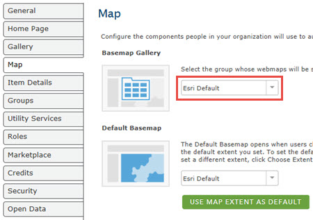 image shows the basemap gallery group.