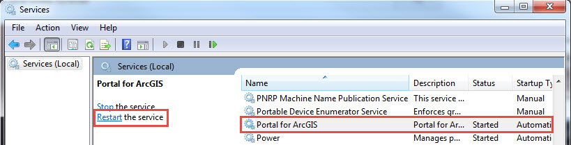 Image shows the services windows and the Portal for ArcGIS service