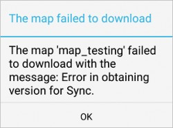 Image of the error message in Collector for ArcGIS (Android)