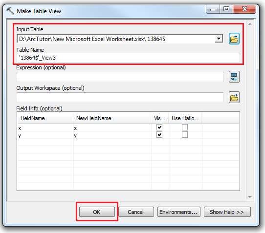 An image of the Make Table View dialog box.