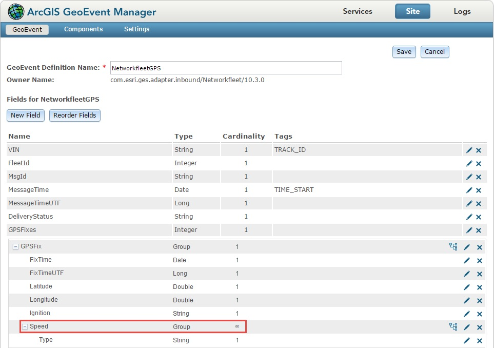 Image of the ArcGIS GeoEvent Manager