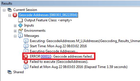 A screenshot with the error highlighted.