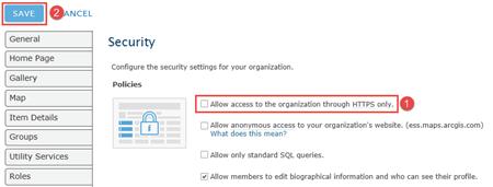 Image displays arcgis online security configuuration options.