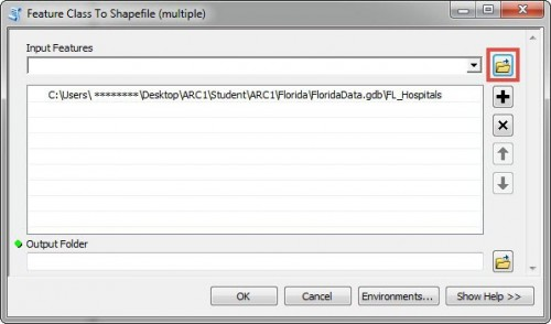 Image of the Feature Class To Shapefile (multiple) dialog box