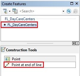 Create Features panel with Construction Tools section