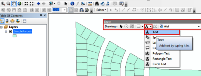 The picture shows the Text tool in the Draw toolbar
