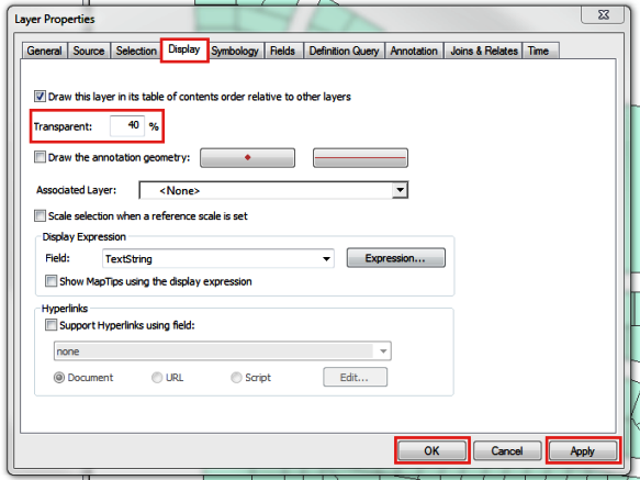 The picture shows the Layer Properties dialog box