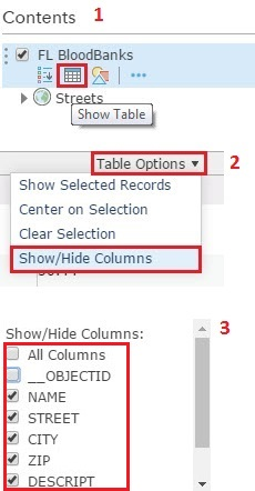 Image of the table options and checkboxes