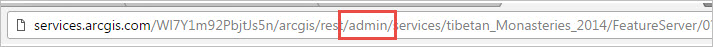 The REST admin page of the feature service