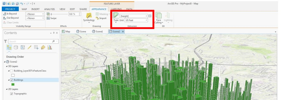 Extrude features in ArcGIS Pro