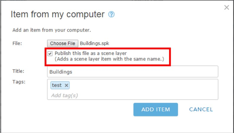 Upload the scene layer package
