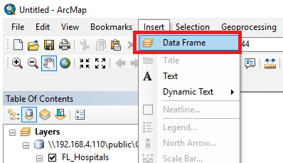An image that shows how to insert a new data frame.