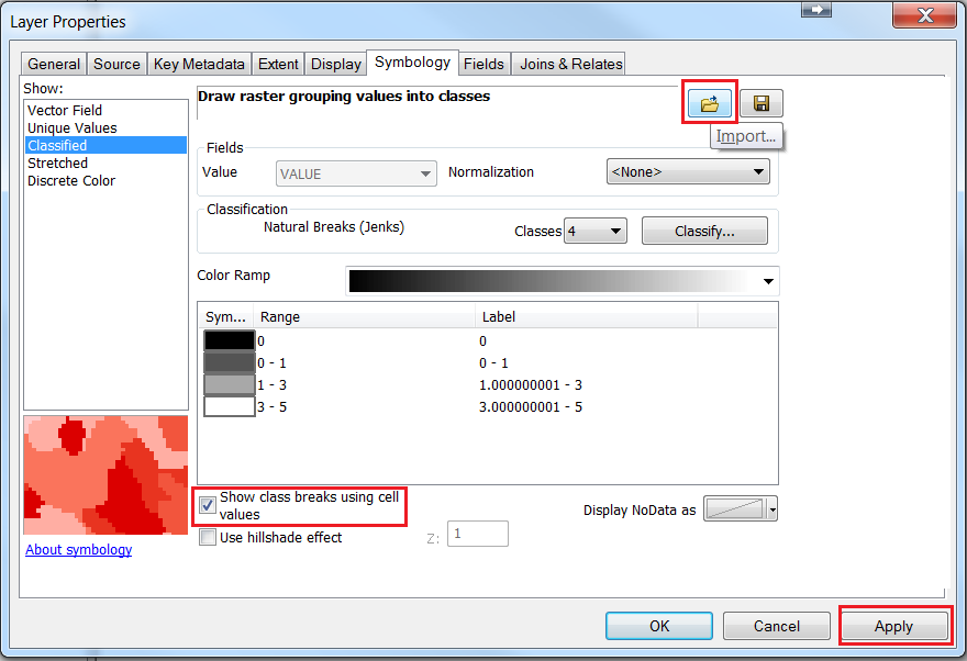 Image showing the Show class breaks using cell values check ox in the Layer Properties window