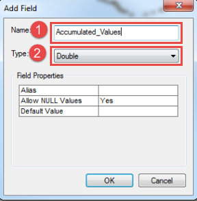 Selection of name and type in Add Filed dialog box