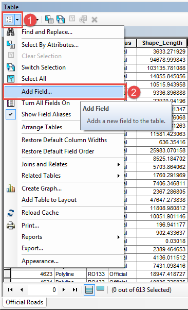 Select the attribute table add field option.