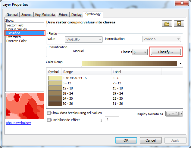 In the Layer Properties window, group the raster values into classes.