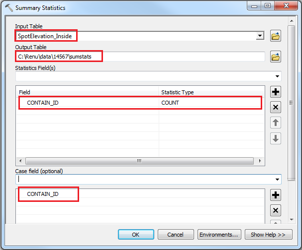 An image of the Summary Statistics tool dialog box.