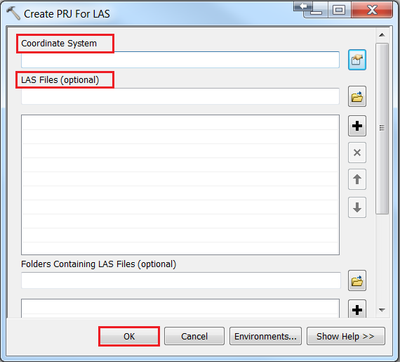 An image of the Create PRJ For LAS tool dialog box.