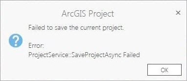 Screen shot of the error message: Failed to save the current project. Error: ProjectService::SaveProjectAsync Failed