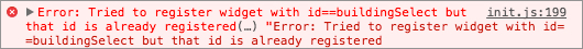Image of the error message in Javascript API
