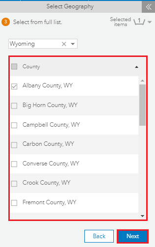 Select the desired county
