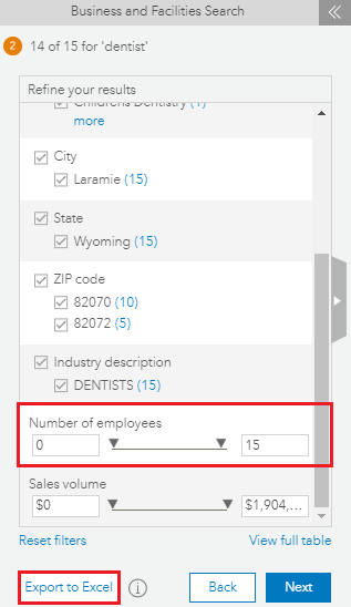 Export to Excel option