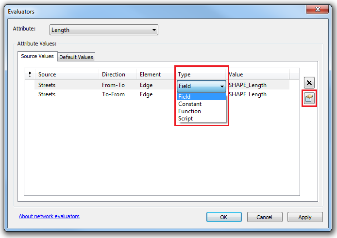 Selecting Field as the source value Type and setting the evaluator properties.
