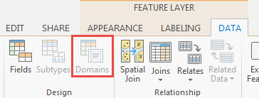 In the Data tab, the Domains button is disabled.