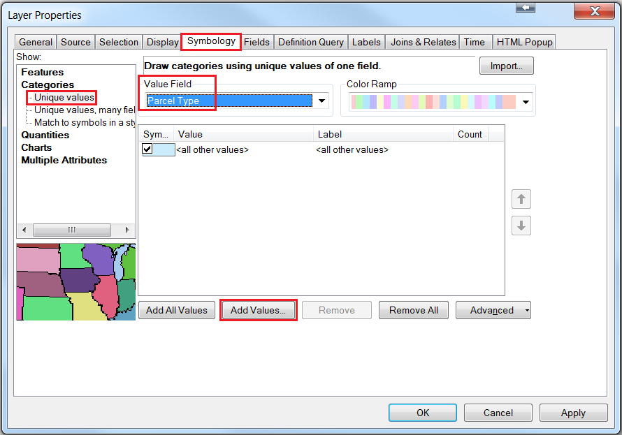 An image showing the symbology configuration in the Layer Properties dialog box.