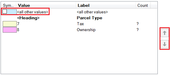 An image showing the newly added parcel type 7 and 8 in the symbology table.