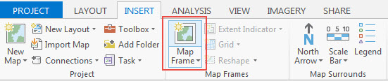 Map Frame drop-down