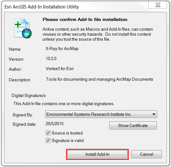 An image of the Esri ArcGIS Add-In Installation Utility.
