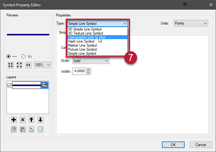 7. At the top of the Symbol Property Editor, choose Type: Cartographic Line Symbol.