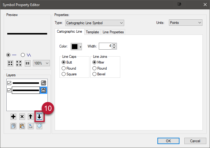 10. Click the down arrow on the left to be sure the second line you added is at the bottom of the list of symbol layers.