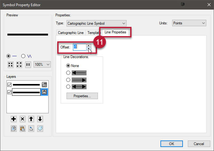 11. Go to the Line Properties tab and increase or decrease the offset - this creates the shadow. Click OK twice.