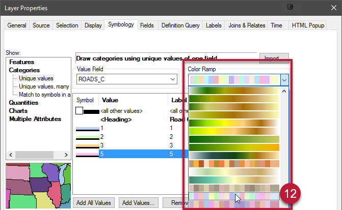 12. Apply unique colors to the lines by clicking the Color Ramp drop-down above the top right of the value table. Choose a ramp with separated color blocks with a variety of colors.