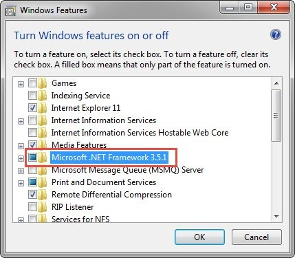 The Microsoft .NET Framework check box