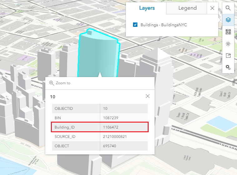 An image of an ArcGIS Online web scene displaying a pop-up with the edited field alias name.