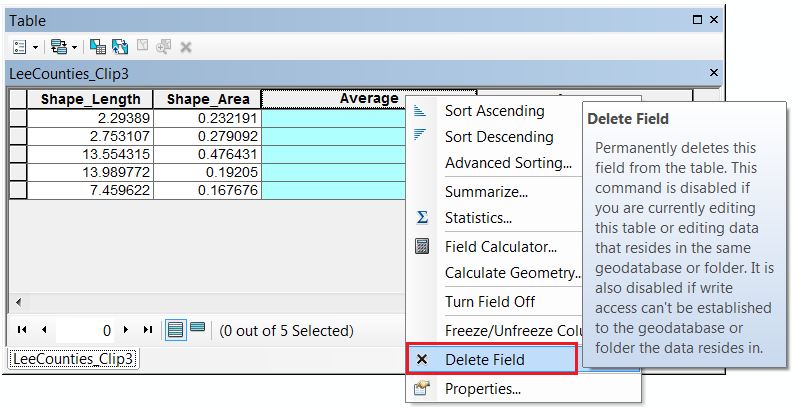 The image of deleting a duplicate field in the attribute table.