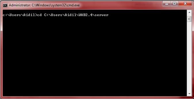 Picture of changing the directory of Windows Command Prompt to server directory