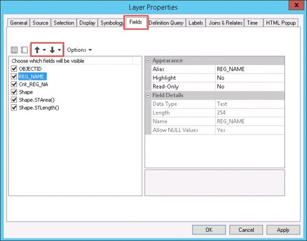 Arrange the fields in the Layer Properties dialog