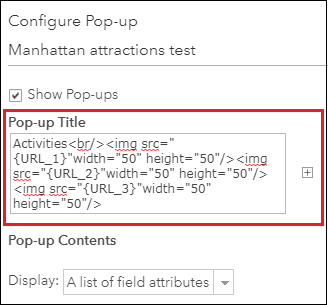 This is the Configure Pop-up pane.